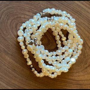 Silpada freshwater pearl goddess stretch bracelets